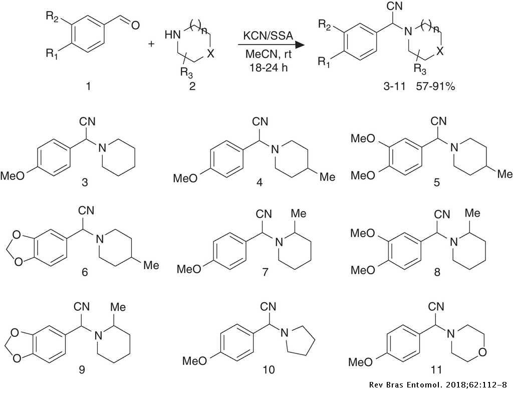 Synthesis of new α-amino nitriles with insecticidal action