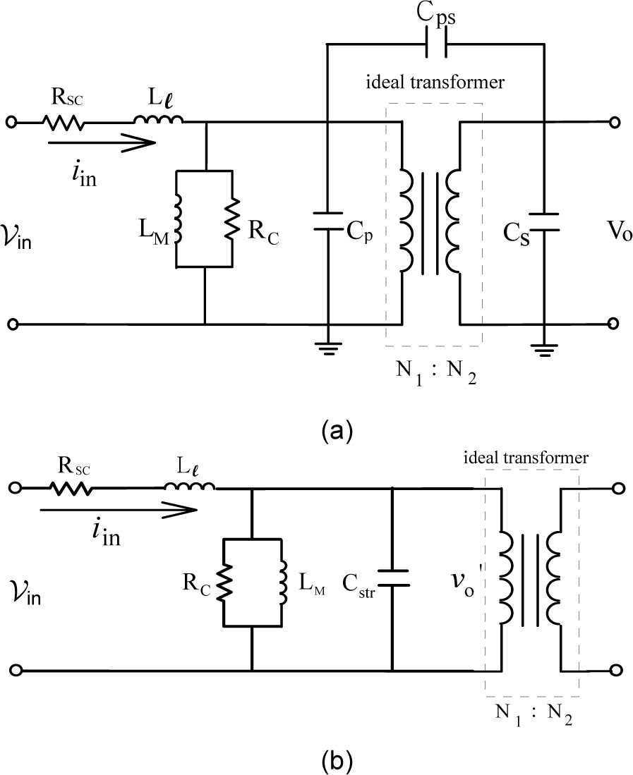 Design Of Plasma Generator Driven By High Frequency Voltage Current Diagram Moreover R Circuit The Equivalent Transformer With Stray Capacitance A Three Capacitances B