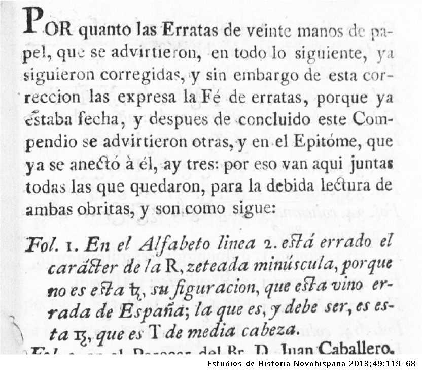 4d37b2678d90 Comentario sobre las letras equivocadas en la fe de erratas del Breve  compendio de Ramírez.