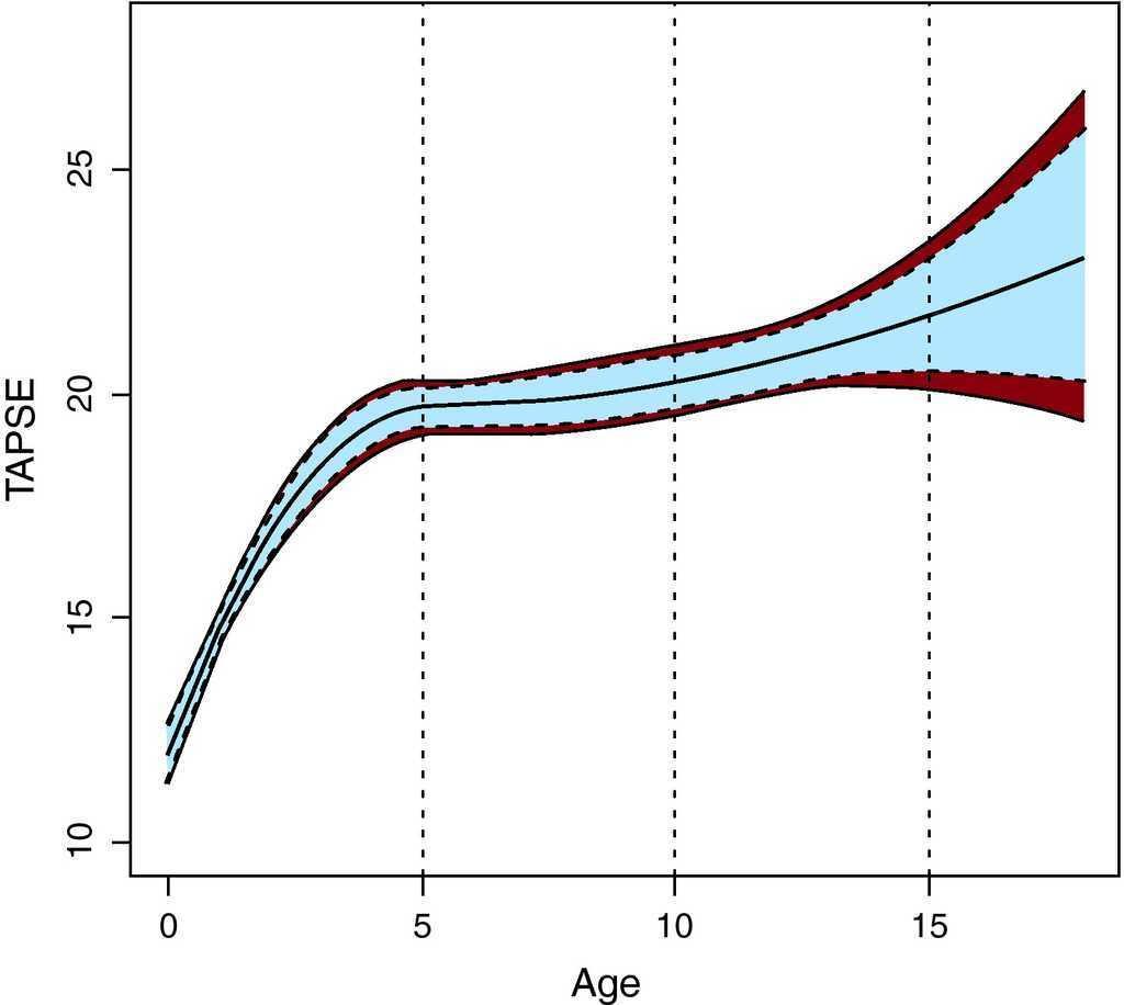 valores normales de tapse linear unit niños
