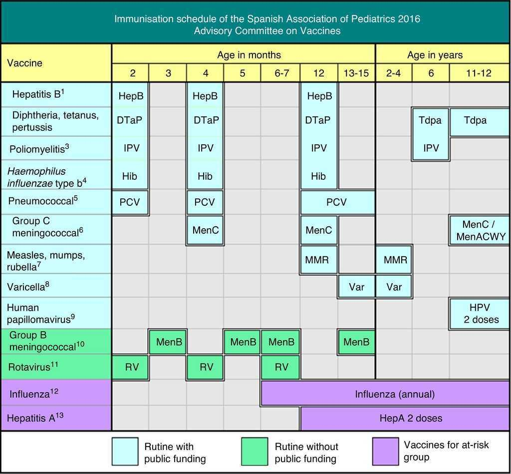 immunisation schedule of the spanish association of paediatrics