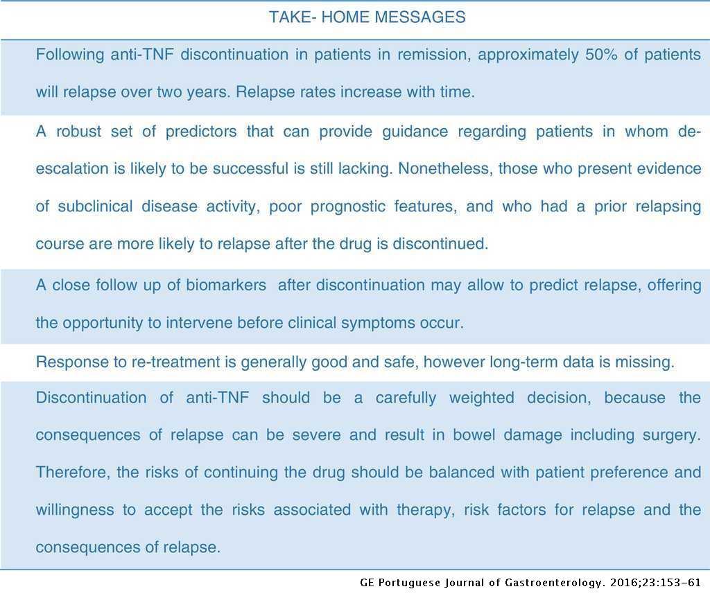 Anti-TNF Withdrawal in Inflammatory Bowel Disease | GE ...