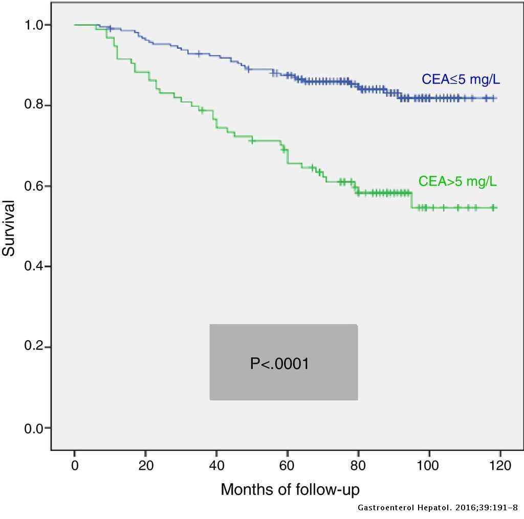 Prognostic Value Of Preoperative Carcinoembryogenic Antigen Is It Useful In All Stages Of Colorectal Cancer Gastroenterologia Y Hepatologia English Edition