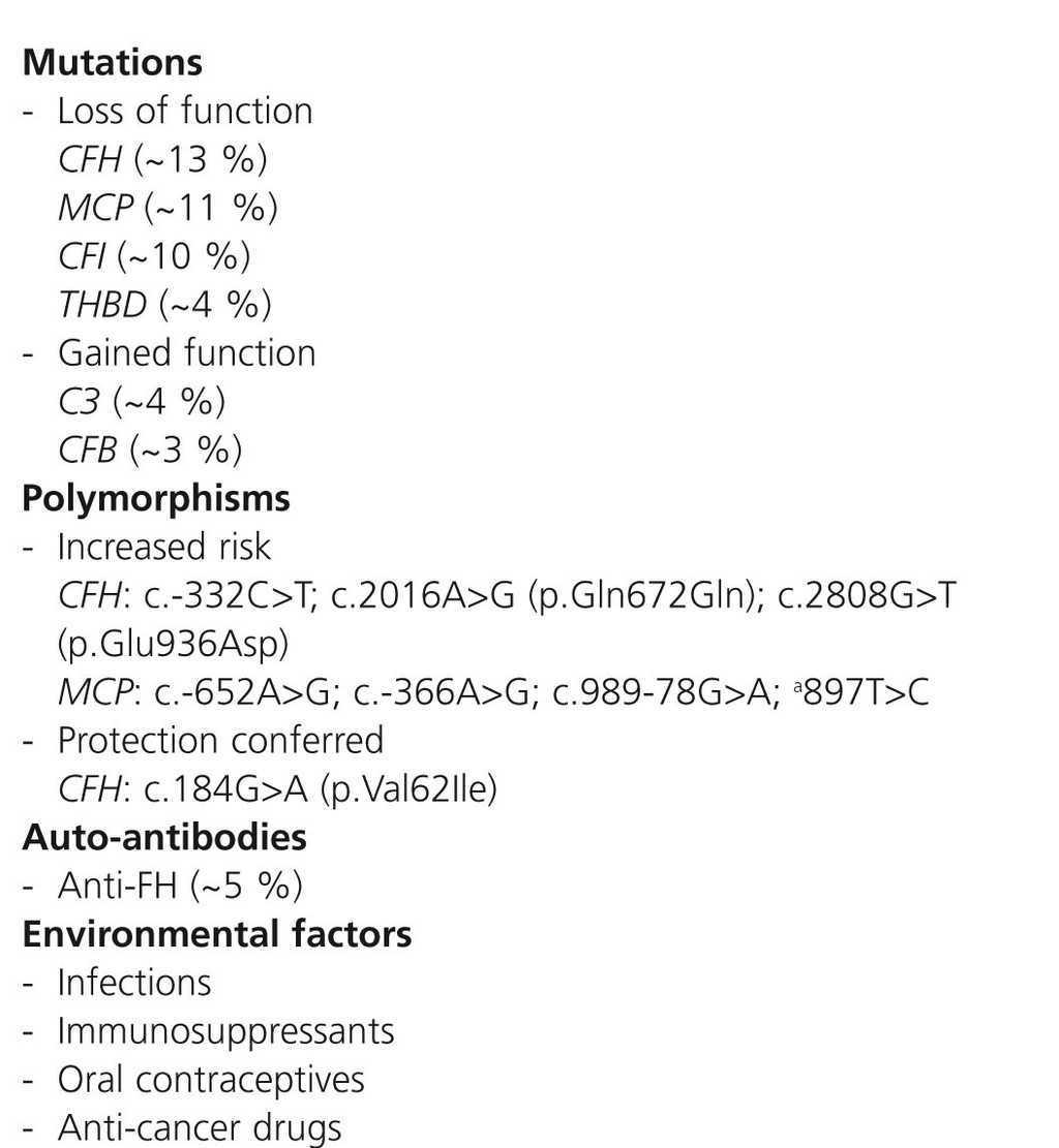 An update for atypical haemolytic uraemic syndrome