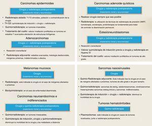 Resumen de tratamiento de los tumores nasosinusales.