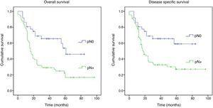 Overall and disease-specific survival Kaplan–Meier curves for pN0 and pN+.
