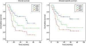 Overall and disease-specific survival Kaplan–Meier curves depending on pN1 and pN2.