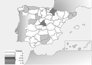 Distribución por provincias de la producción científica en otología (2011-2015).