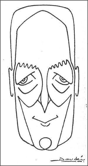 Caricatura de Sainz de Aja realizada por el doctor Daudén y publicada en 1956 en Actas Dermo-Sifiliográficas (1956;47:358). Sainz de Aja fue miembro fundador de la Sociedad Española de Dermatología y Sifiliografía, actual Academia Española de Dermatología y Venereología. Se significó decididamente por el bando franquista durante la Guerra Civil española y esto le permitió actuar como referente de la maltrecha Dermatología española de la posguerra.