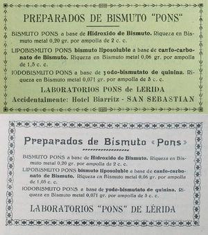 Las sales de bismuto fueron una alternativa a los salvarsanes en el tratamiento de la sífilis en la primera mitad del siglo xx. El anuncio de la parte superior de la figura aparece en el número de octubre de 1937 de Actas, el primero después del comienzo de la guerra. En él se publicitan tres productos de los laboratorios Pons de Lleida, que figura: «Accidentamente: Hotel Biarritz - San Sebastián». En la parte inferior vemos el mismo anuncio a finales de 1939, después del final de la guerra, en el que ya no aparece esta coletilla.