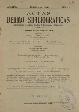 Portada del número de octubre de 1928 de Actas Dermo-Sifiliográficas. El curso 1928-1929 tiene especial interés porque la Revista aumentó de 6 a 9 ejemplares anuales, como ya se hace constar en la propia portada.