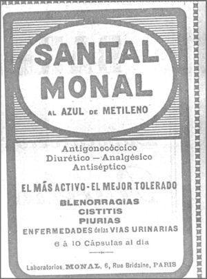 Azul de metileno «Santal Monal» como tratamiento de la gonococia.