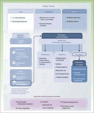 Algoritmo terapéutico de hidradenitis supurativa. Fuente: Martorell45.