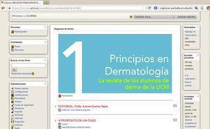 Portada y acceso en el campus virtual de la UCM al primer número de la revista Principios en Dermatología.