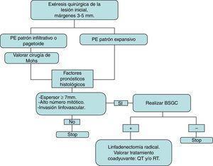 Esquema de tratamiento seguido en la serie presentada y basado en la literatura revisada. La exéresis inicial se realiza con márgenes entre 3 y 5mm, que deben estar libres de tumor para continuar el algoritmo terapéutico. BSGC: biopsia selectiva de ganglio centinela; QT: quimioterapia; RT: radioterapia.