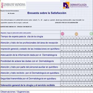 Ejemplo de encuesta de satisfacción efectuada a los pacientes de dermatología.