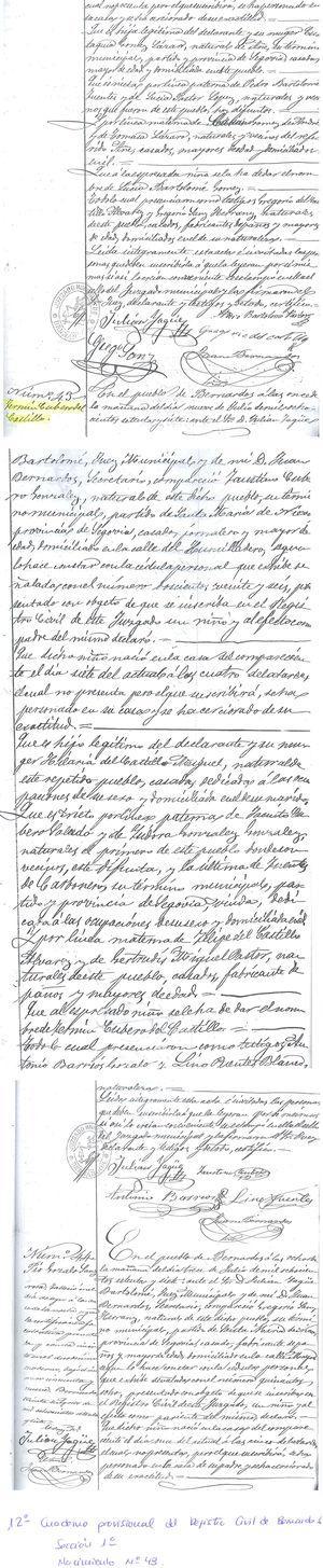 Copia del acta de nacimiento que figura en el Cuaderno Provisional del Registro Civil (Sección 1.a, Nacimiento n.° 43) del Ayuntamiento de Bernardos.