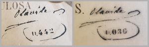 Sellos con la firma del autor y el número de serie de la litografía.