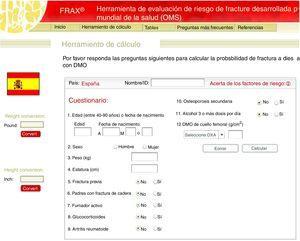 Cálculo del riesgo de fractura por Fracture Risk Assessment Tool (FRAX®) para España (https://www.sheffield.ac.uk/FRAX/tool.aspx?country=4).