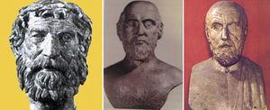Precursores de la medicina científica (de izquierda a derecha): Empédocles de Agrigento, Alcmeón de Crotona, e Hipócrates de Cos.