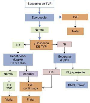 Algoritmo para el diagnóstico de TVP en el embarazo. RMN: resonancia magnética nuclear; TVP: trombosis venosa profunda. 1Otras: ecografía de la vena ilíaca, flebografía o tomografía computarizada.