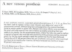 Un artículo de la revista Surgery, diciembre 1972.