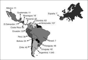 Distribución por países de los 2.166 participantes de los cursos hands on de cirugía laparoscópica desde 1998 a 2007