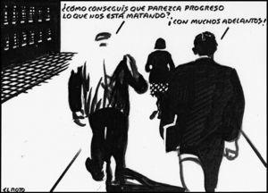 Andrés Rábago muestra en esta viñeta su lúcida prevención contra el «progreso» médico (reproducida con permiso del autor).