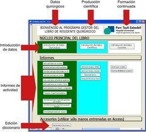Pantalla de inicio del LIRQ. A través de esta pantalla se puede acceder al registro de datos, así como a los informes de los datos registrados.