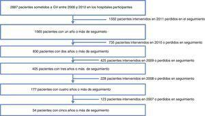 Flujo de pacientes incluidos en el estudio en cada año de seguimiento.