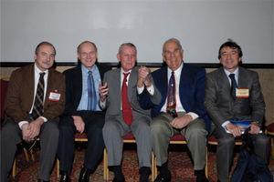 En el 40 aniversario del trasplante de páncreas. D. Casanova, D. Sutherland, T. Starzl, J. Najarian, L. Fernández-Cruz.