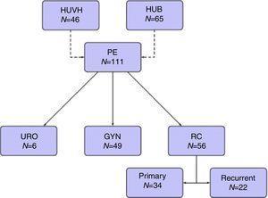 Diagrama de flujo. CR: cáncer de recto; EP: exenteración pélvica; GYN: tumores ginecológicos; HUB: Hospital Universitario de Bellvitge; HUVH: Hospital Universitario Vall d'Hebron; URO: tumores urológicos.