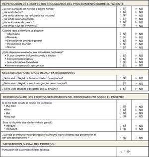 Encuesta de satisfacción global del programa de colecistectomía laparoscópica sin ingreso.
