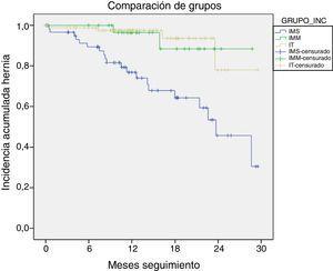 Comparación de las curvas de Kaplan-Meier para la indemnidad de la pared abdominal en los grupos y subgrupos analizados.