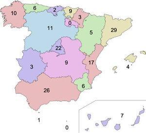 Distribución nacional de las respuestas por centros y comunidades autónomas.