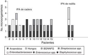 Tipos de microorganismos de las infecciones de prótesis articular polimicrobianas. IPA: infección de prótesis articular; BGNNFG: bacilos gramnegativos no fermentadores de glucosa.