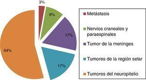 Distribución de tumores en pacientes menores de 19 años (n=35).