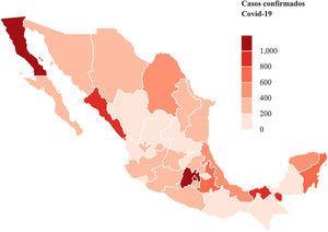 Distribución de pacientes con infección por COVID-19 confirmada por laboratorio en México por estado.