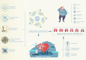 Interrelación entre estado nutricional, salud y evolución de la COVID-19. En la evolución de la COVID-19 se han implicado varios mecanismos. Entre los factores relacionados con el huésped figuran sexo, edad y enfermedades pulmonares y metabólicas. Un aspecto más desconocido es la interrelación entre estado nutricional y salud no solo a escala individual, sino también comunitaria y global. Varios factores contribuyen al estado nutricional, entre ellos, estabilidad económica, enfermedades coexistentes, racismo u otros tipos de discriminación e inseguridad alimentaria, determinada por un acceso desigual a nutrientes esenciales o alimentos saludables. Todos ellos condicionan el estado de salud comunitario e individual de manera que, a través de una alteración de la inmunidad innata y adquirida o de una microbiota intestinal poco saludable, predisponen a las personas a contraer enfermedades infecciosas, así como una COVID-19 más agresiva y grave.