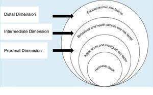 Hierarchical model for the evaluation of neonatal death risk factors, adapted from Mosley & Chen.3