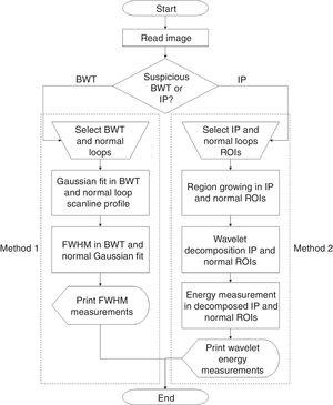 Methodological flowchart for assessing necrotizing enterocolitis in neonatal radiographs. Two different methods are present. Method 1 uses full-width at half-maximum (FWHM) measurements to identify bowel wall thickening (BWT). Method 2 is a hybrid tool which applies region growing, wavelet transform, and energy measurement to identify intestinal pneumatosis (IP).