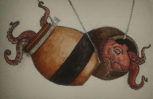Pulpos atrapados en la trampa japonesa llamada tako-tsubo. Elaboración propia.