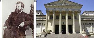 (a) Retrato de Dardo Rocha (1838-1921), fundador y rector de la Universidad de La Plata y gobernador de la provincia de Buenos Aires, entre otros cargos. (b) Fachada del Museo de Ciencias Naturales de la Ciudad de la Plata (Buenos Aires).