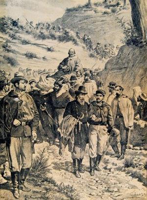 Ilustración de la época que representa el transporte de Garibaldi herido en un ambiente de fraternidad entre los soldados partidarios.