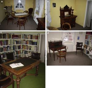 Primera planta de la casa con muebles de Roentgen: (a) juego de comedor y (b) aparador de una de las habitaciones; (c) el libro de visitas sobre su mesa y sillas, ubicadas en una sala diferente; (d) otro ambiente con uno de sus escritorios.