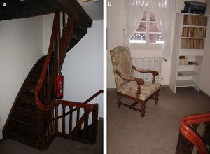 (a) La escalera y (b) su descanso.