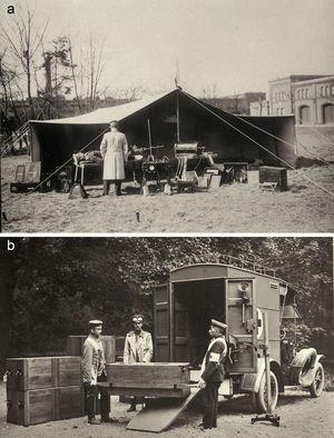 (a) Cabina de radiología durante la Primera Guerra Mundial. (b) Automóvil asistencial radiológico.