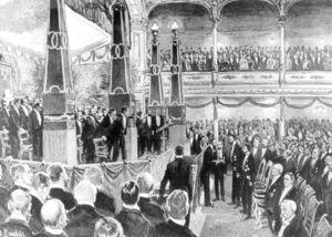 Ilustración del periódico: Roentgen recibiendo el primer Premio Nobel.