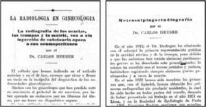 """""""La radiología en ginecología"""" (1924) y """"Metrosalpingografía"""" (1926) de Carlos Heuser."""