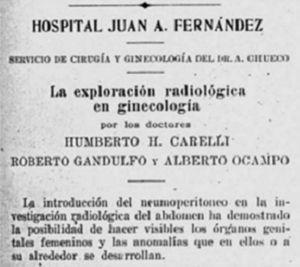 """""""La exploración radiológica en ginecología"""" de Carelli, Gandulfo y Ocampo (1924)."""